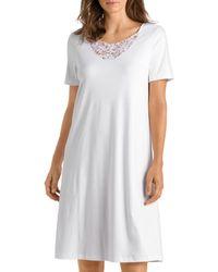 Hanro Dorea Short Sleeve Gown - White