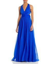 Aidan Mattox Cutout Silk Gown - Blue