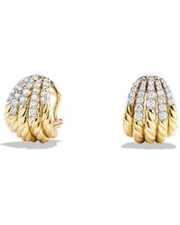 David Yurman - Tempo Earrings With Diamonds In 18k Gold - Lyst