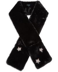 Jocelyn Faux Fur & Crystal Star Pocket Scarf - Black