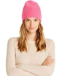 Aqua Cashmere Rib - Knit Cashmere Beanie - Pink