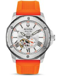 Bulova - Marine Star Orange Silicone Strap Automatic Watch - Lyst