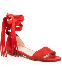 Stuart Weitzman Corbata Fringe Lace Up Sandals - Red