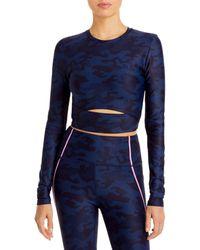 Aqua Athletic Camo Crop Top - Blue