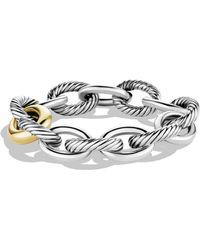 David Yurman Sterling Silver 18k Gold Chain Link Bracelet - Metallic