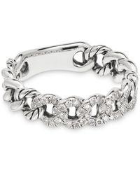 David Yurman Belmont Curb Link Narrow Ring With Pavé Diamonds - Metallic
