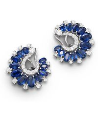 Bloomingdale's - Sapphire And Diamond Earrings In 14k White Gold - Lyst
