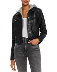 Aqua Layered - Look Faux Leather Trucker Jacket - Black