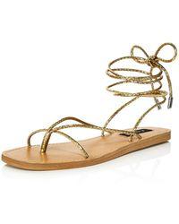 Aqua Women's Zina Strappy Sandals - Metallic
