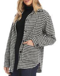 Karen Kane Houndstooth Shirt Jacket - Black