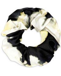Ganni Abstract Print Stretch Silk Scrunchie - Black
