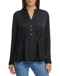 DKNY Demi Pleated Long Sleeve Top - Black