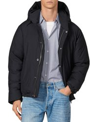 Sandro Hooded Down Puffer Jacket - Blue