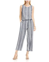 Two By Vince Camuto Belted Stripe Jumpsuit - Blue