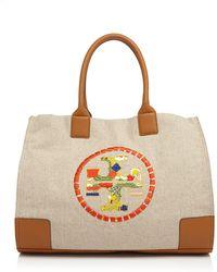 d4c6852df6e6 Tory Burch - Ella Embroidered Logo Tote - Lyst