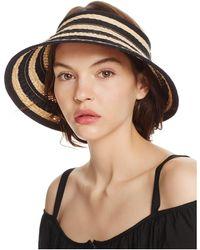 Bettina Braided Straw Ribbon Stripe Visor - Black