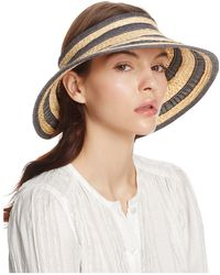Bettina - Braided Straw Ribbon Stripe Visor - Lyst