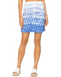 XCVI Tie Dyed Ruched Skirt - Blue
