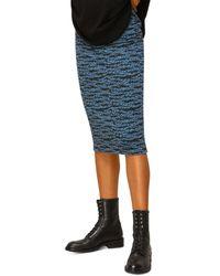Whistles Tiger Stripe Knit Midi Skirt - Blue