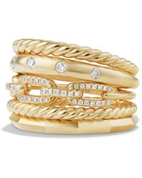 David Yurman - Stax Wide Ring With Diamonds In 18k Gold - Lyst