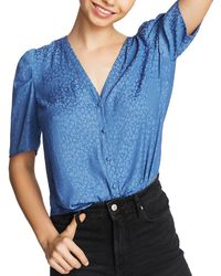 1.STATE Puff - Sleeve Leopard Print Blouse - Blue