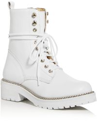 Aqua Women's Jax Combat Boots - White