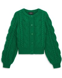 The Kooples Cropped Cable Knit Cardigan - Green