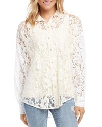 Karen Kane Semi - Sheer Lace Shirt - Multicolour