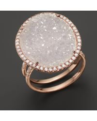 Meira T 14k Rose Gold Druzy Ring With Diamonds - Pink