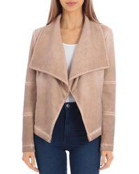 Bagatelle Washed Scuba Faux - Suede Drape Jacket - Multicolour