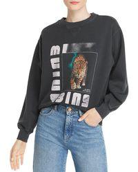 Anine Bing Wild Cat Graphic Sweatshirt - Black