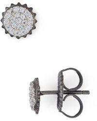Freida Rothman - Round Pavé Stud Earrings - Lyst