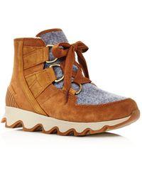 Sorel Women's Kinetic Almond Toe Waterproof Nylon & Leather High - Top Trainers - Brown