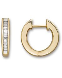 Bloomingdale's Channel Set Diamond Hoop Earrings In 14k Yellow Gold - Metallic