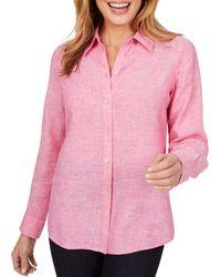 Foxcroft Jordan Non Iron Linen Shirt - Pink