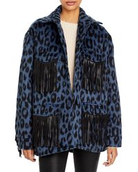 ANDAMANE Evita Leopard Print Fringe Trim Jacket - Blue