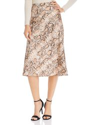 Aqua Satin Midi Slip Skirt - Natural