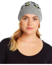 Aqua Leopard Cashmere Hat - Multicolour