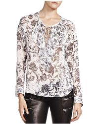 The Kooples - Printed Lace-up Top - Lyst