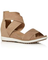 Eileen Fisher Women's Viv Criss - Cross Wedge Sandals - Brown