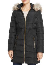 Laundry by Shelli Segal Cinched Waist Faux Fur Trim Puffer Coat - Black