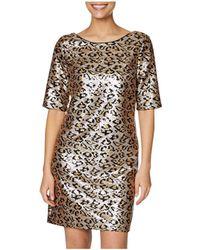 Betsey Johnson Leopard Sequin Shift Dress - Multicolour