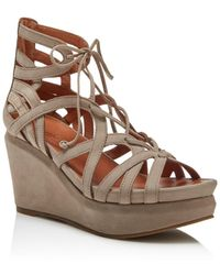 Gentle Souls by Kenneth Cole Gentle Souls Joy Lace Up Wedge Sandals - Natural