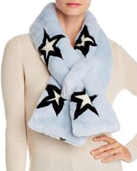 Aqua Printed Faux Fur Scarf - Blue