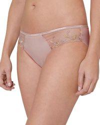 Simone Perele Andora Embroidered Mesh Bikini - Pink
