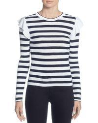 Catherine Malandrino - Karina Ruffle Shoulder Stripe Sweater - Lyst