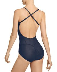 Item M6 All Mesh Low Back Bodysuit - Blue