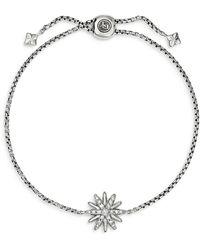 David Yurman Sterling Silver Starburst Bolo Bracelet With Diamonds - Metallic