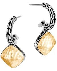 John Hardy Classic Chain Hammered Hoop-drop Earrings W/ 18k Gold - Metallic
