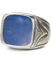 John Varvatos John Varvatos Sterling Silver Square Lapis Ring - Blue